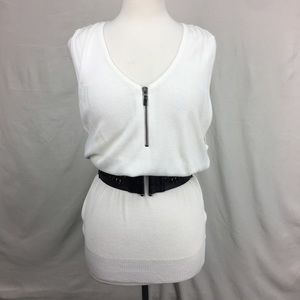 Guess Ivory Belted Sleeveless Knit Top